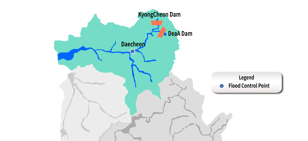 Mangeong River Flood control point:Daecheon